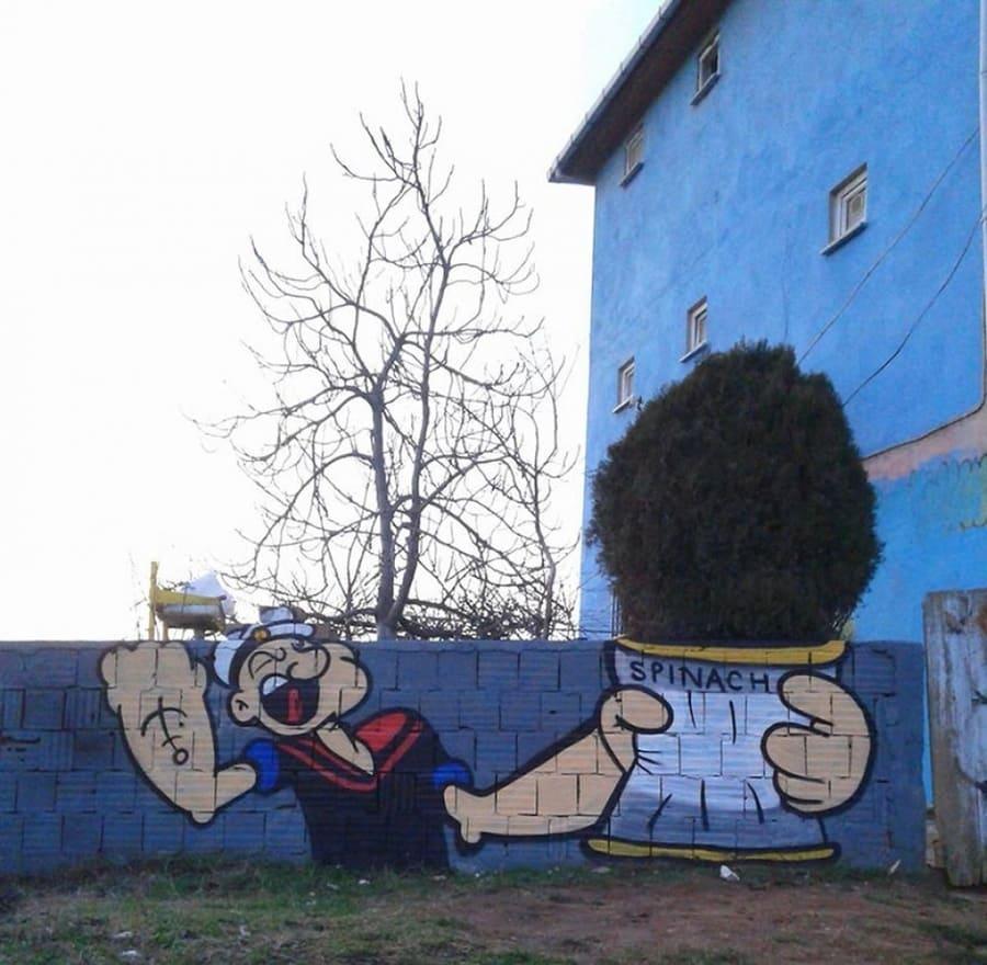 Braccio di Ferro by semi.ok a Istanbul - Street Art