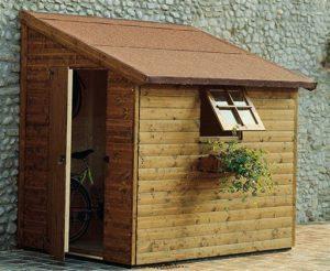 Casetta in legno porta attrezzi da giardino